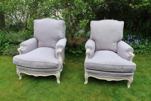 Pair of large bergere armchairs