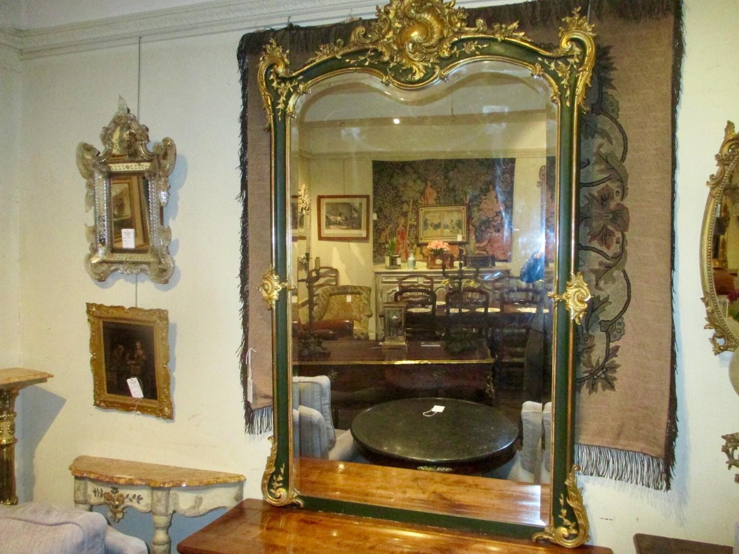Large green and gilt mirror