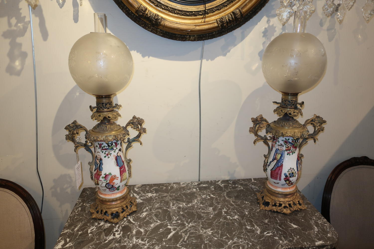 Pair of Chinese porcelain oil lamps