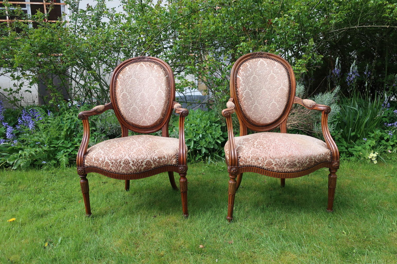Pair of walnut armchairs