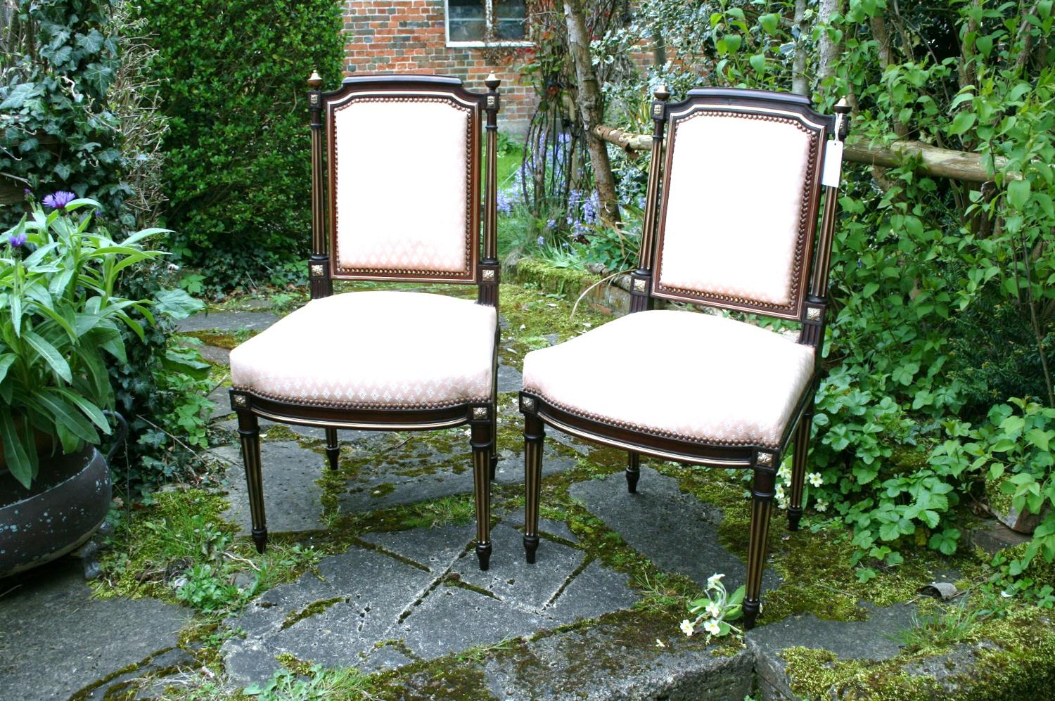 Pair of second empire salon chairs