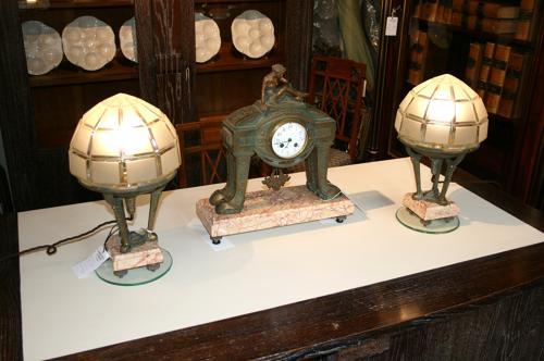 Art deco clock and lamp set