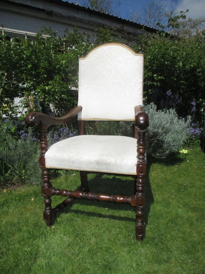 Large walnut armchair
