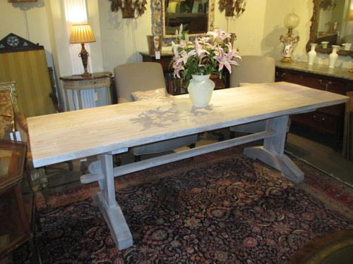 Large limed refectory table