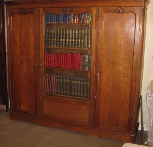 Oak 3 Door French Bookcase