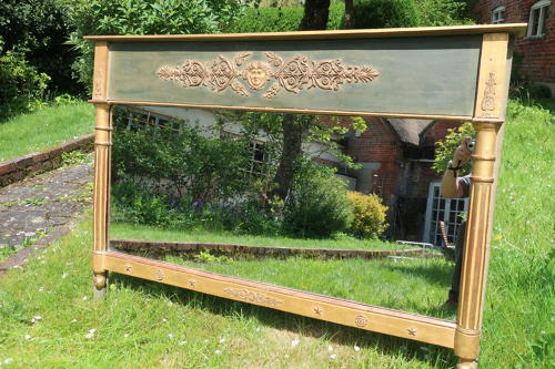 Painted and gilt landscape mirror