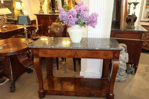 Figured walnut console table