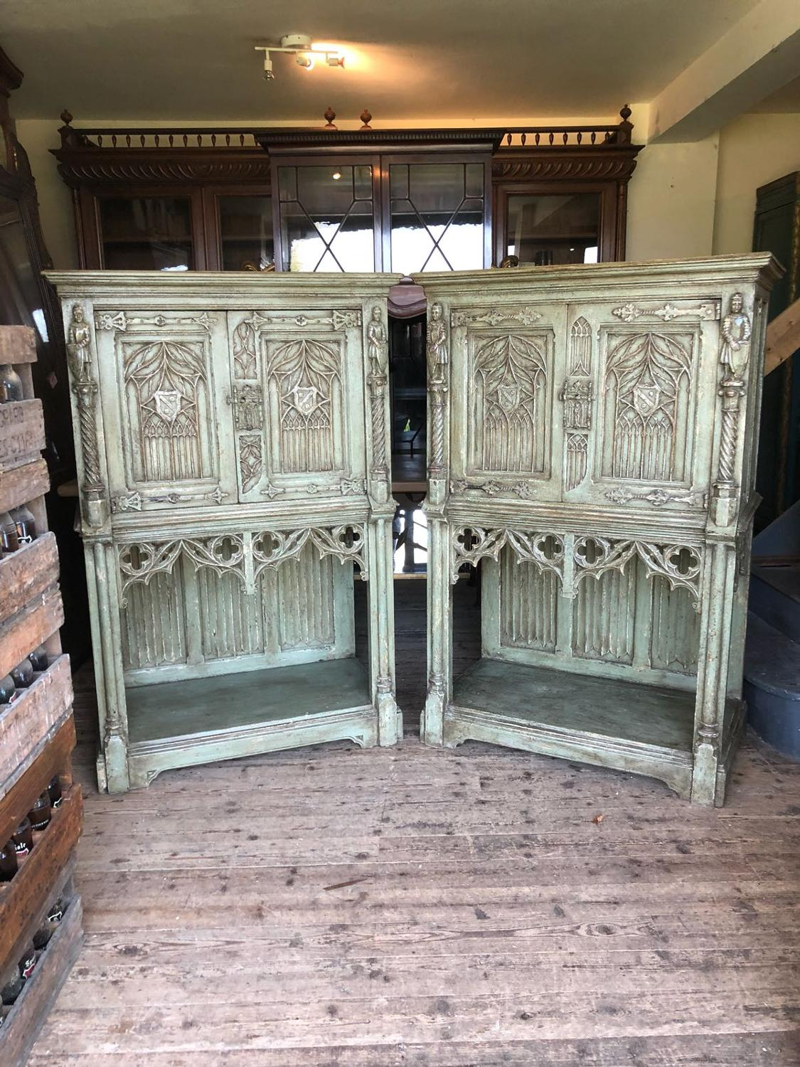 Pair of large painted gothic cabinets