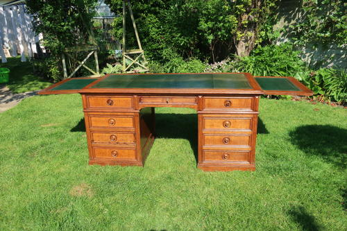 Large oak pedestal desk