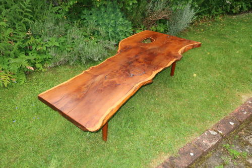 Yew wood coffee table