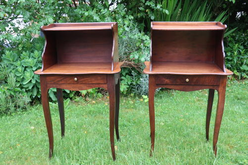 Pair of walnut bedside tables
