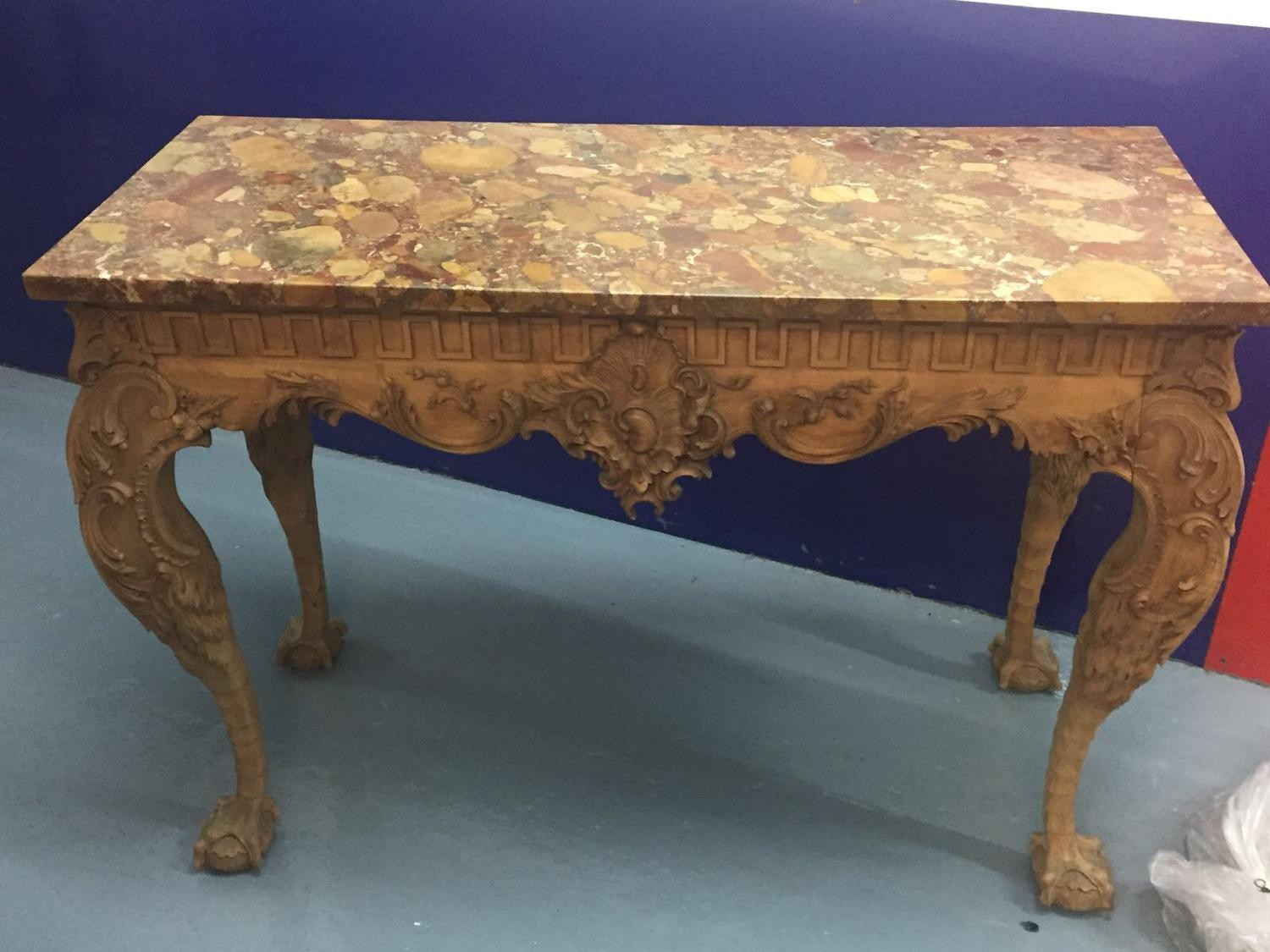 Pair of carved console tables