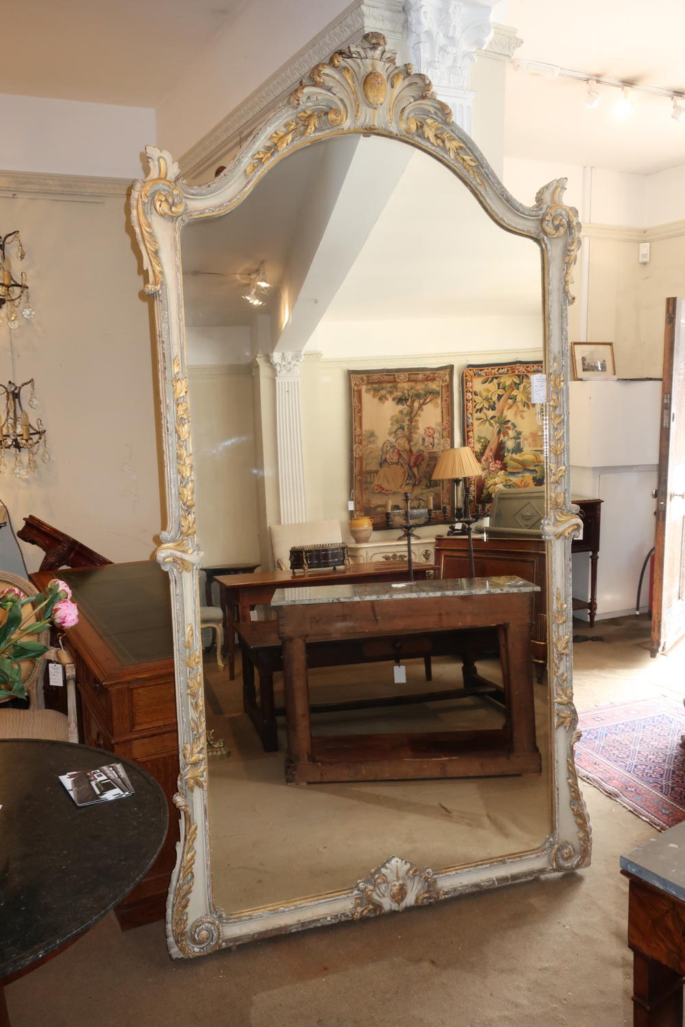 Very large painted mirror