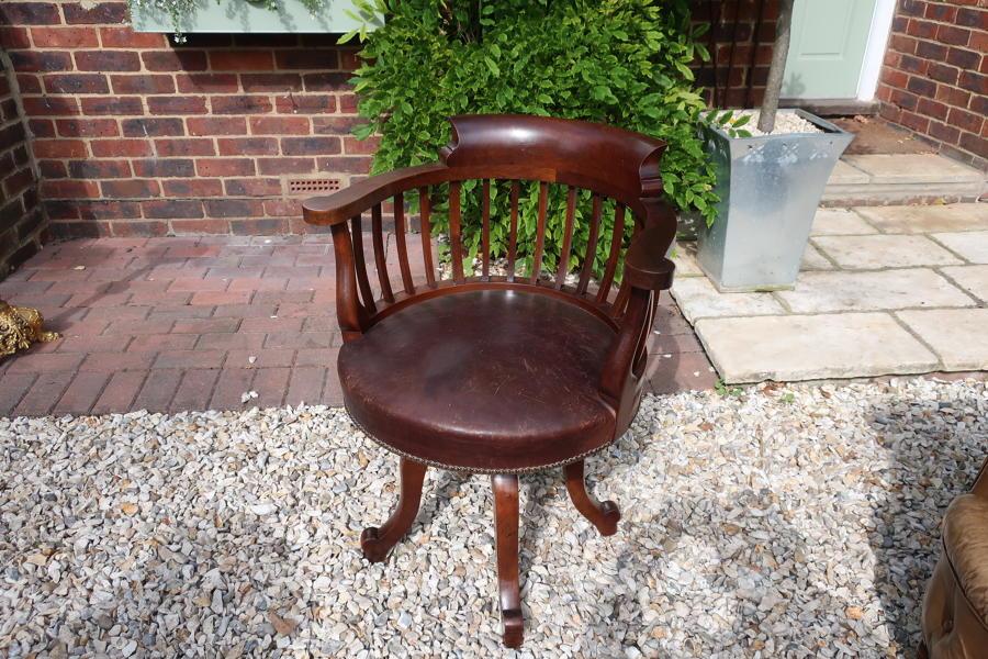 Leather revolving desk chair