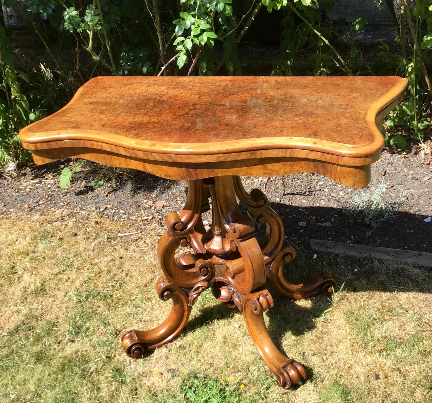 Victorian Burr Walnut Card Table
