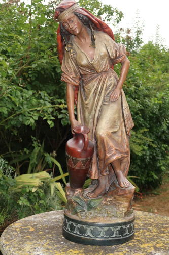 Cold painted terracotta female figure