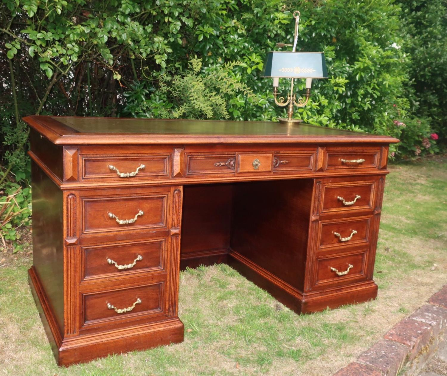 Large walnut pedestal desk