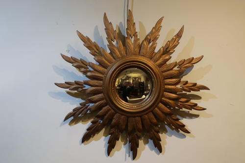 Wood and gilt sunburst mirror