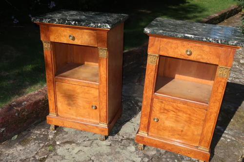 Pair of figured ash bedside tables