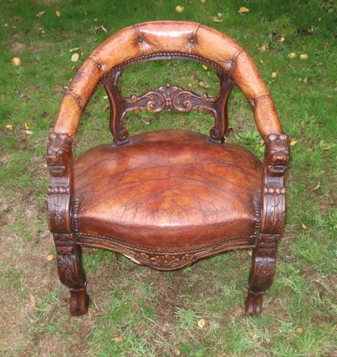 French Oak and Leather desk chair