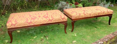 Pair of large brass and rosewood stools