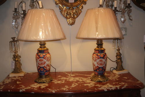 Pair of large Imari lamps