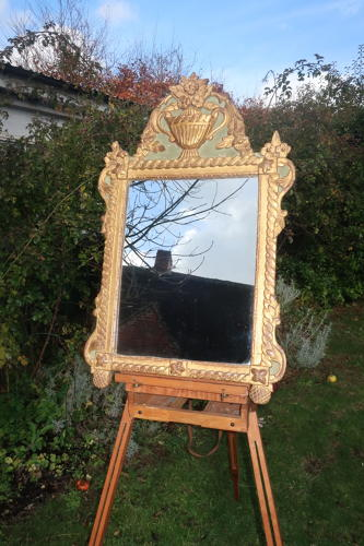 Louis XVI Gilt and Painted Mirror
