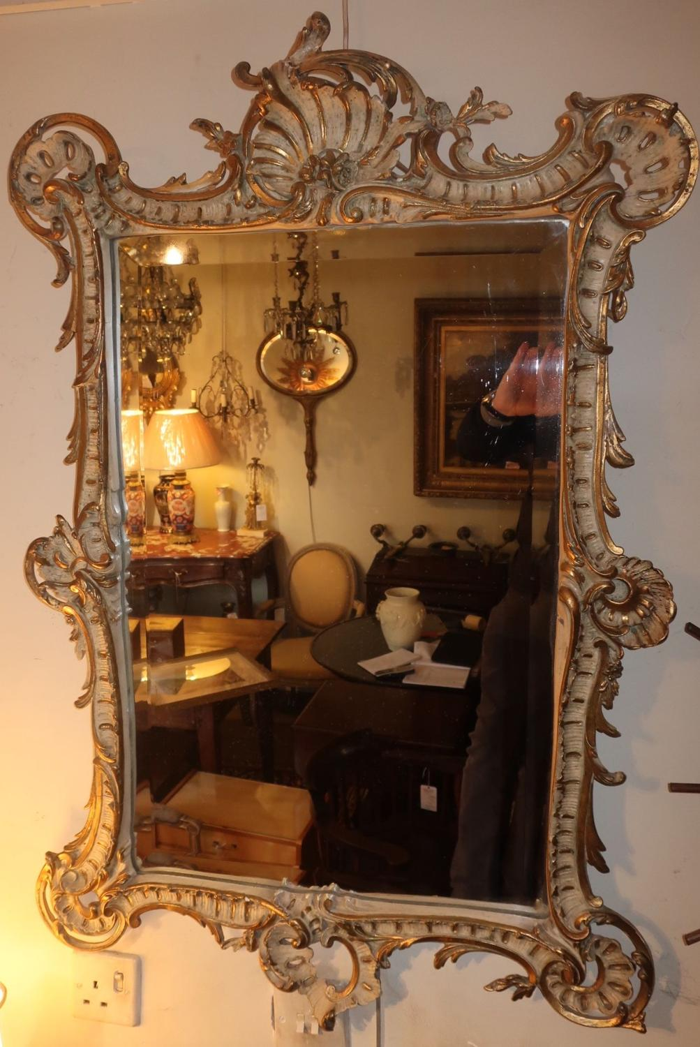 Painted and gilt mirror