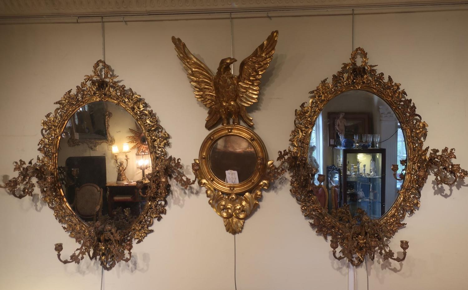 Pair of large ormolu mirrors