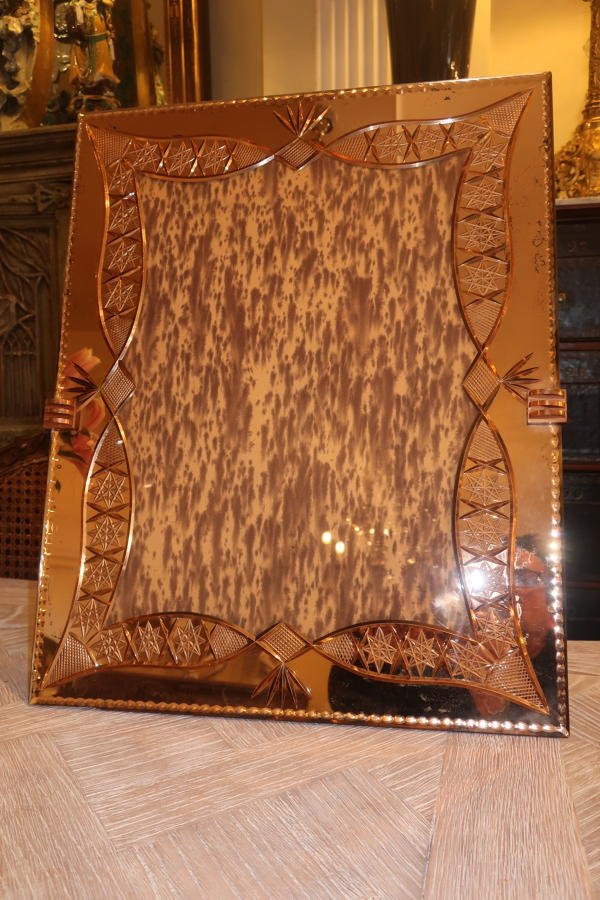Large unusual Venitian mirrored frame