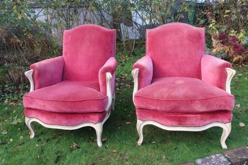 Pair of Large French Bergere Armchairs