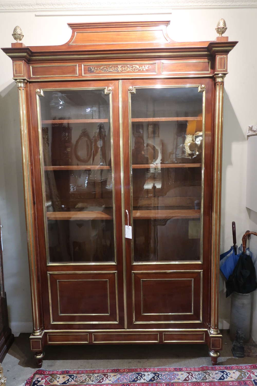 Brass inlaid cabinet/ bookcase