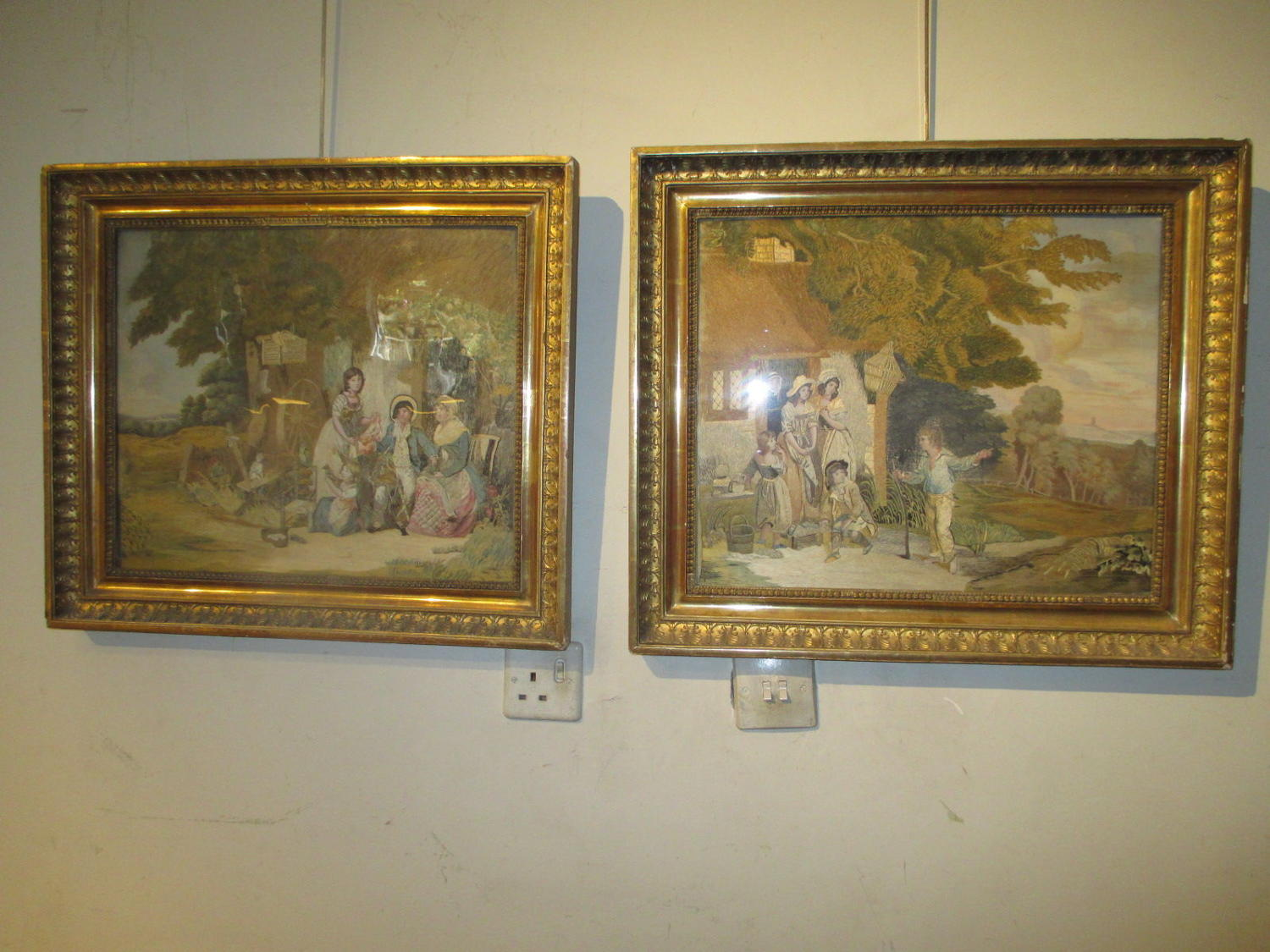 Pair of very fine quality silkwork pictures