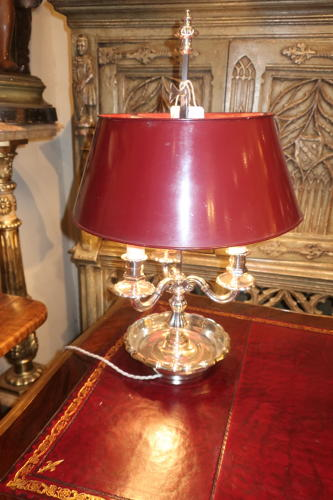 Silver plated bouillotte lamp