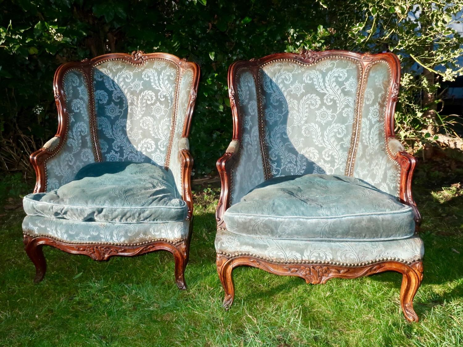 Pair of small bergere armchairs