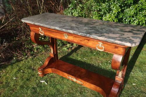 Large figured walnut console table