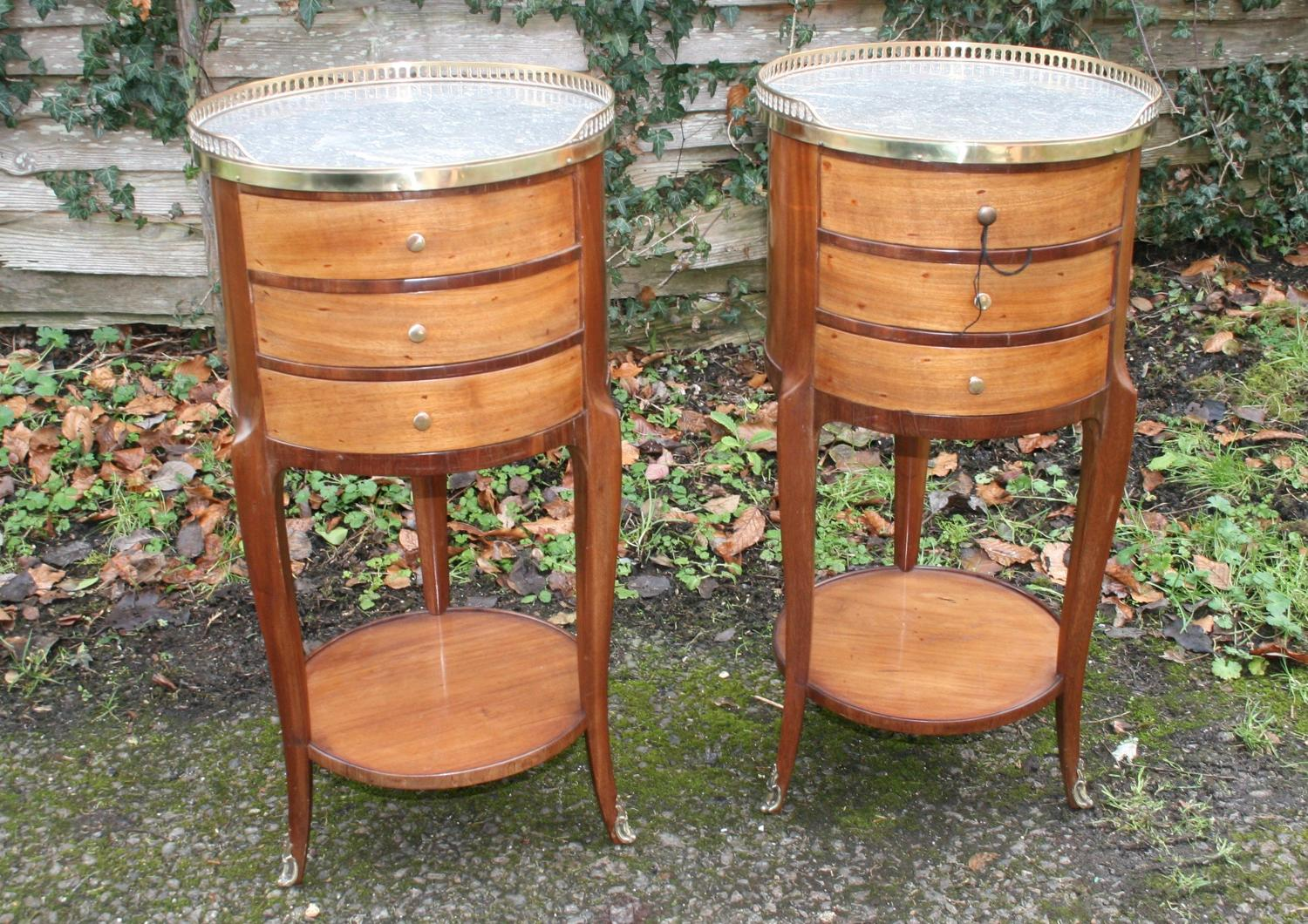 Pair Of Round French Bedside Tables In Mahogany