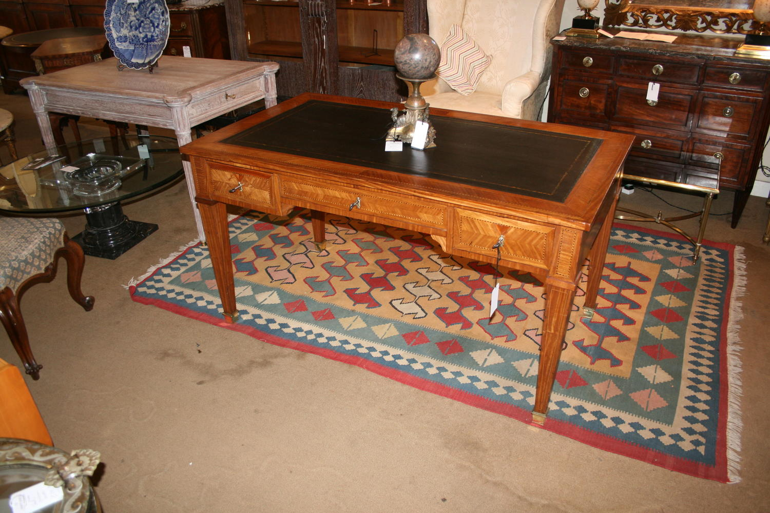 French King Wood Bureau Plat Writing Table
