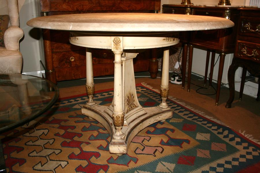 French table with stone top