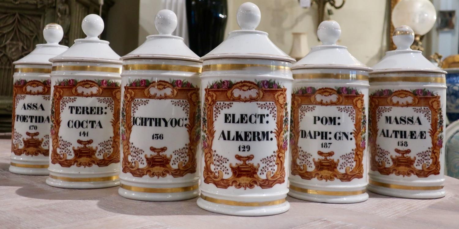 Set of six chemists or apothecary jars