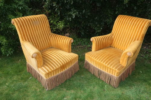 Pair of scroll back armchairs