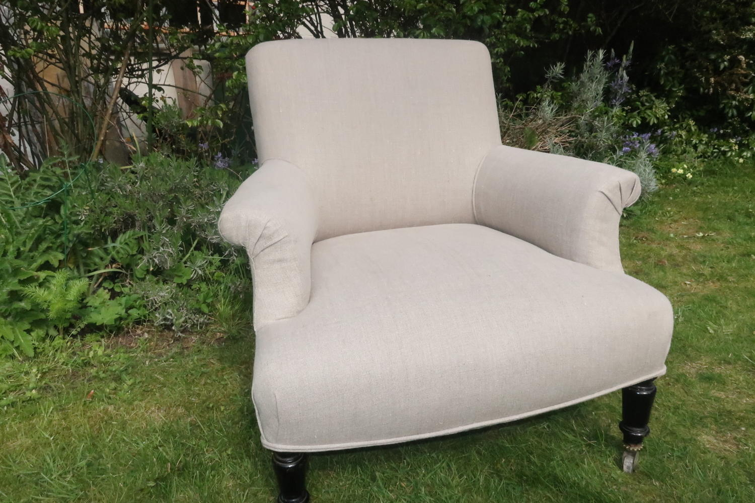 Single linen covered armchair