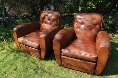 Pair of large French club chairs