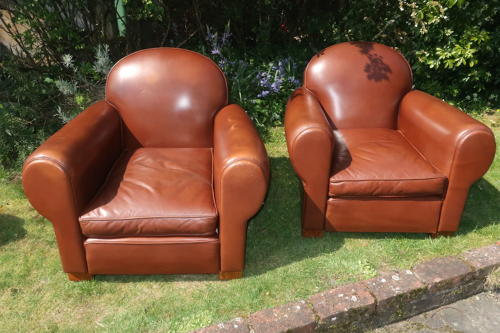 Pair of French leather club leather