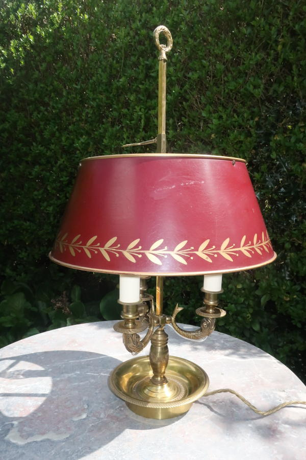 French Bouillotte lamp with red toleware shade