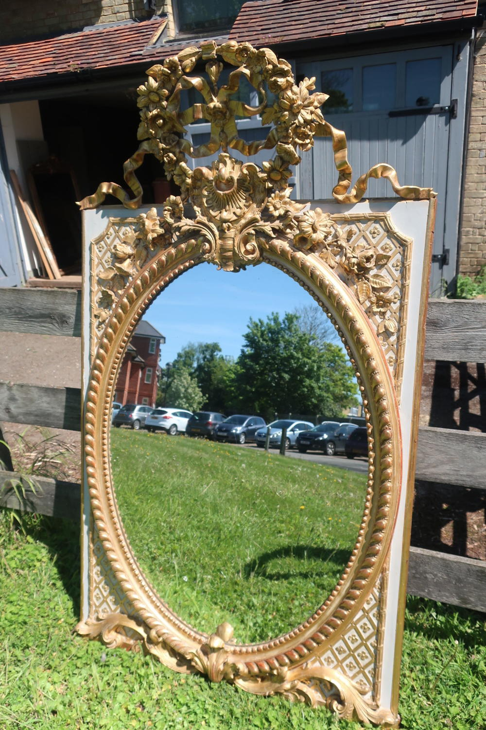 Large original paint and gilt mirror