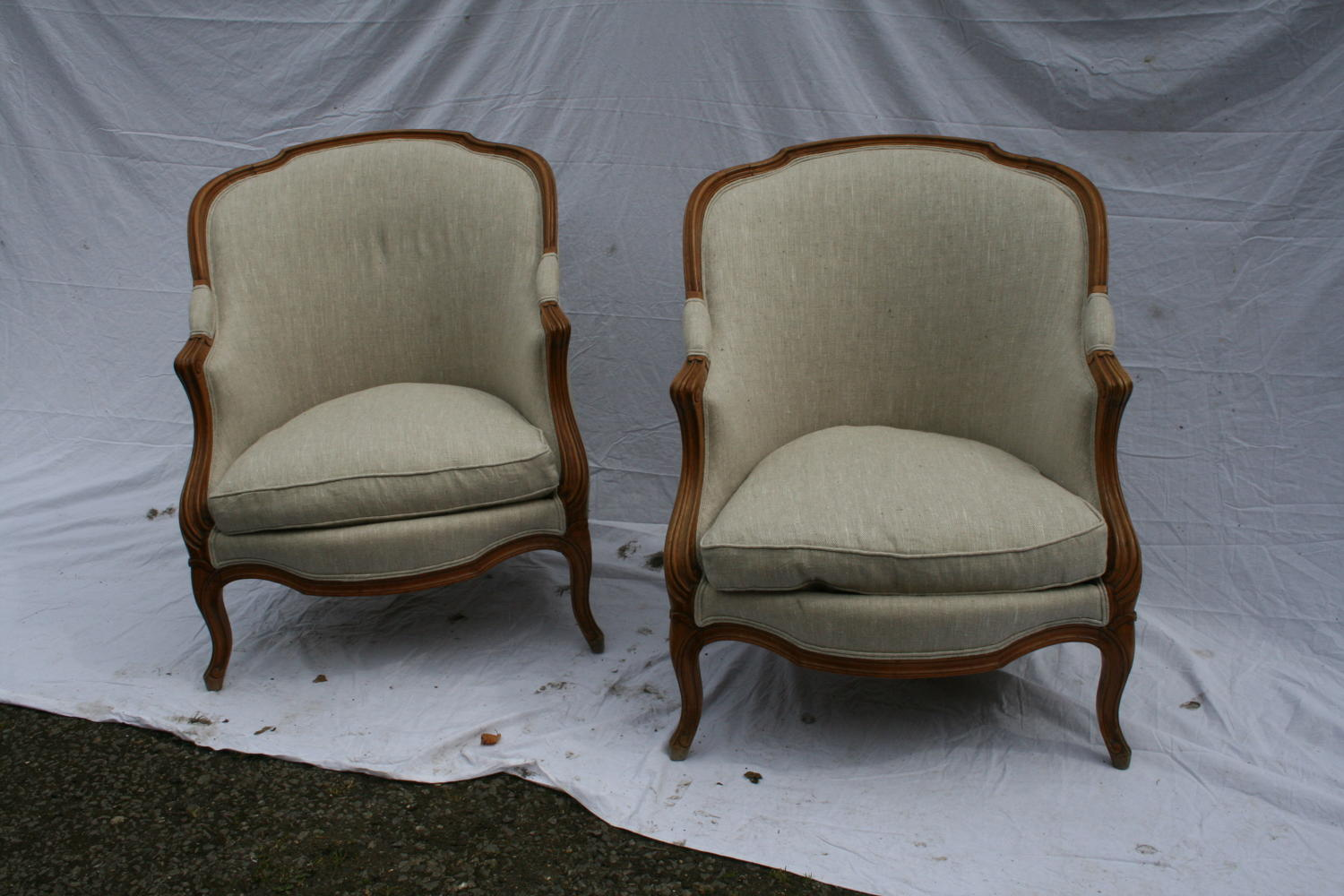 Pair French Beech Bergeres