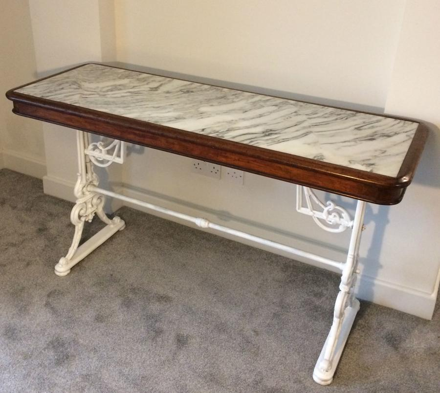 Victorian marble top and iron table