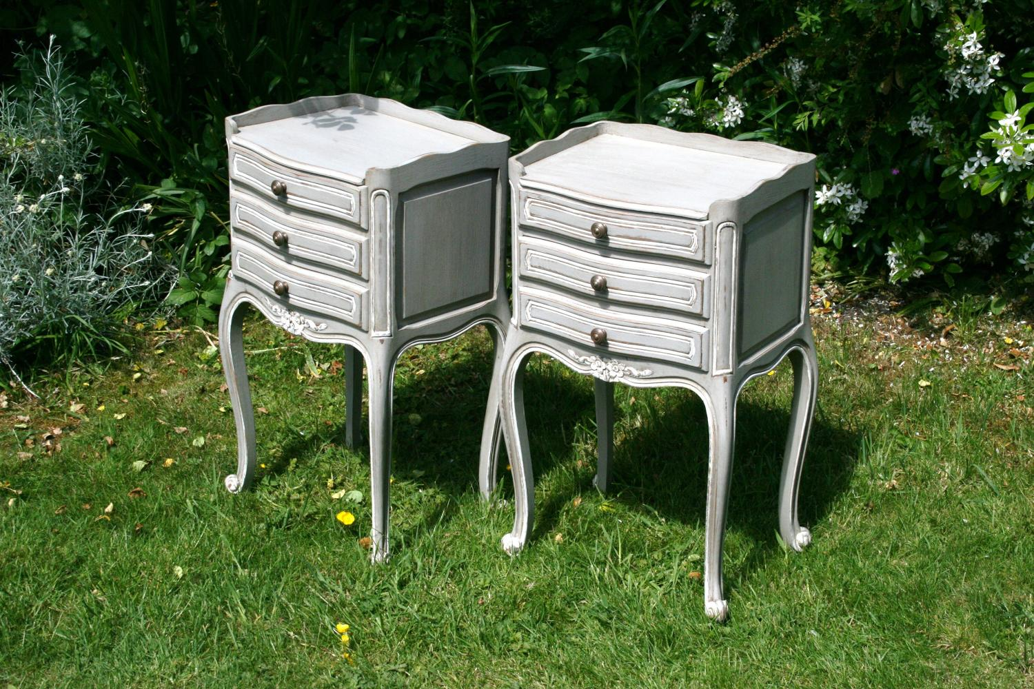 Pair Pretty Painted Bedside Tables