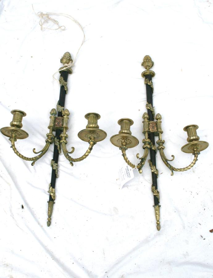 Quality pair of french brass wall lights